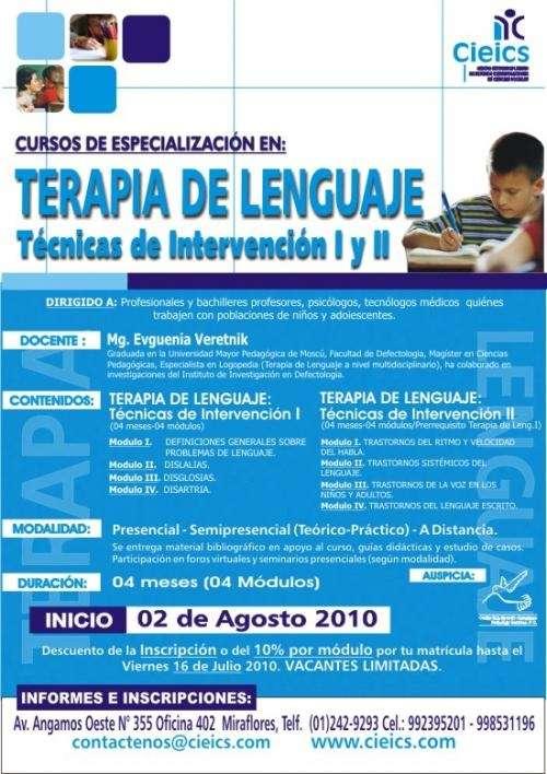 Curso de especializacion en: terapia de lenguaje i y ii