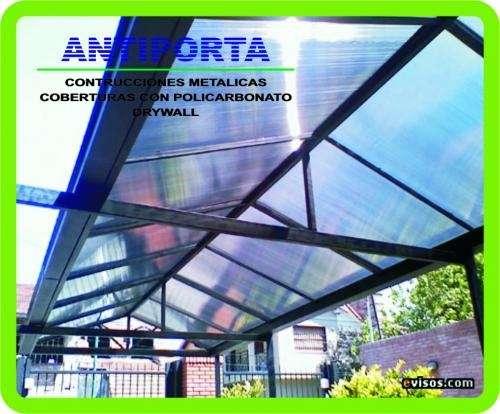 Policarbonato: (construimos e instalamos techos metálicos de fierro o aluminio con cobertura de policarbonato).
