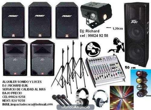 Eventos alquiler sonido dj. luces y efectos economicos excelente sonido luces humos dervis etc .a todo lima 99824 92 58