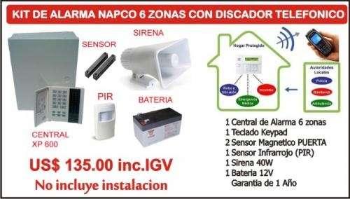 Kit de alarma de 5 zonas inalambrica con discador telefonico y control remoto