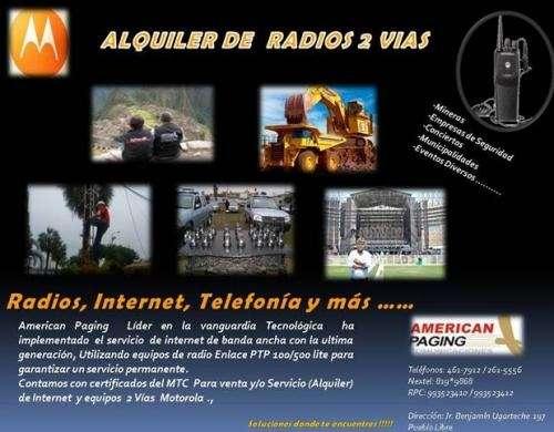 Alquiler de radios de dos vias, telefonia, internet y demas servicios