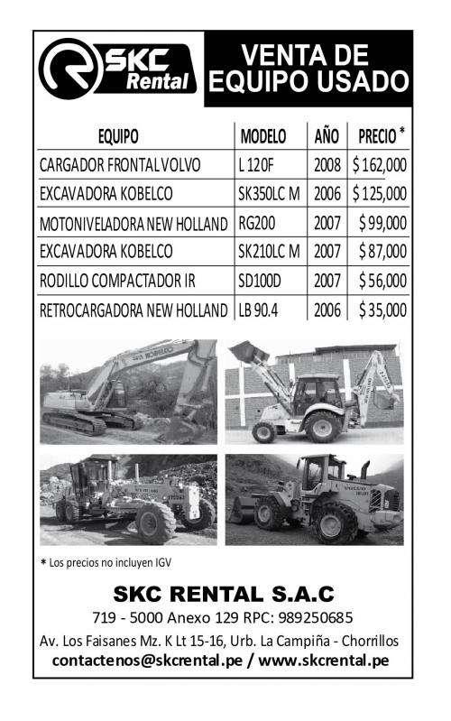 Alquiler de maquinarias y venta de equipos usados