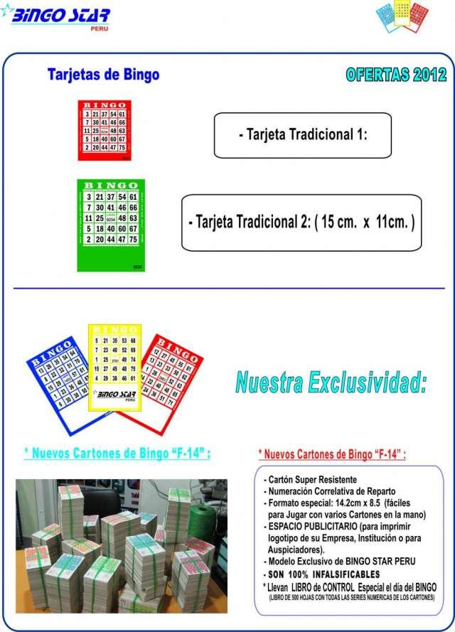 Cartones de bingo - telf. 276-3329 - bingo star peru