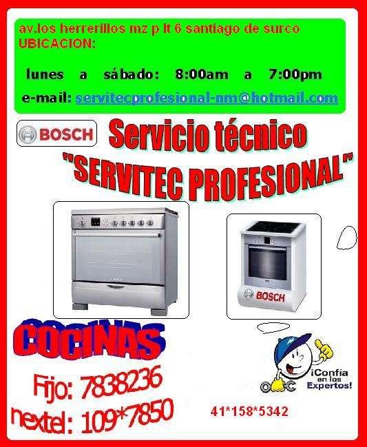 Servicio tecnico ((( cocinas bosch ))) 7265565 ♥♥