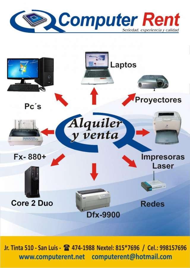 Alquiler de computadoras, laptop, impresoras, proyectores multimedia