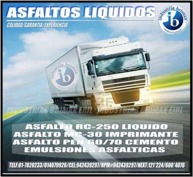 Asfalto liquido mc-30, mc-70, pen 60/70, original, rpm #942439297 -#942437882 lima-peru