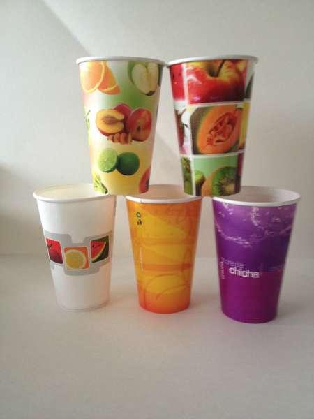 Vasos descartables cartón-polipapel-publicitario-jugo-lima