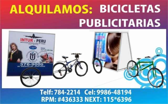 Alquiler de bicicletas publicitarias