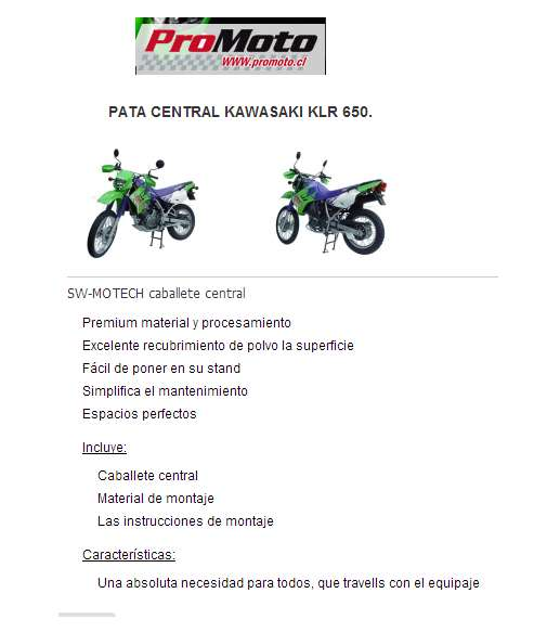 Vendo caballete central para moto klr650