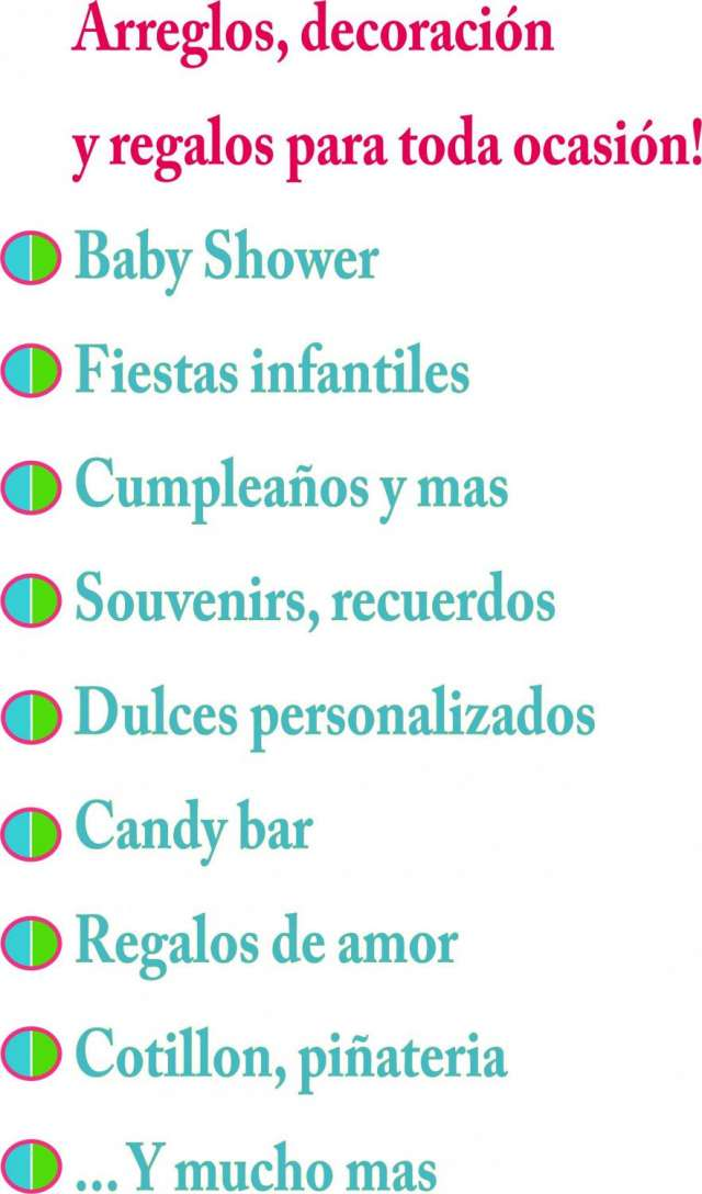 Articulos decorativos para baby shower, fiestas,cotillon, piñateria, regalos en miraflores