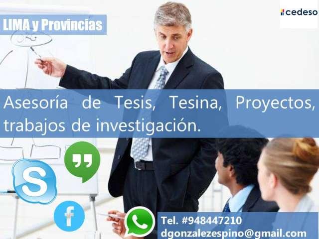 Asesoria de tesis, proyectos, trabajos de investigacion