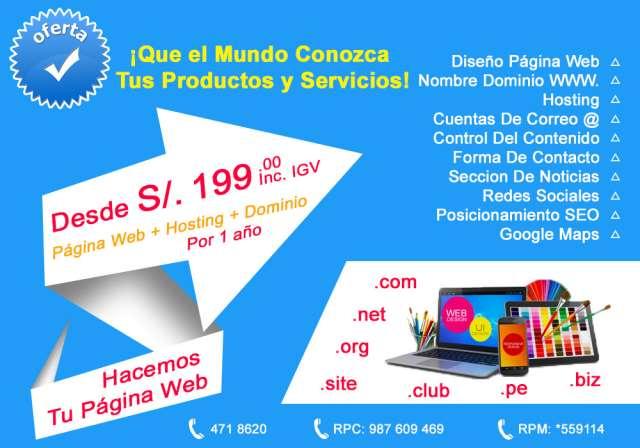 ¡tu página web, dominio y hosting desde s/. 199.00!