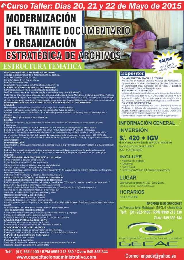 Curso de - modernización del trámite documentario y organización estratégica de archivos