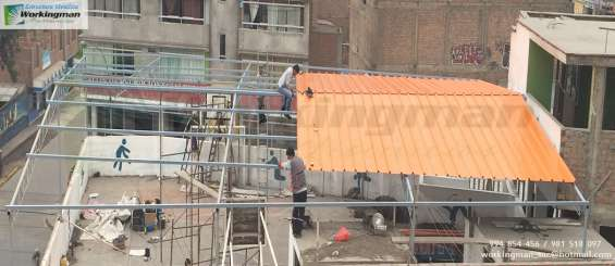 Estructura metálica con cobertor malla sombra colegios fabricas