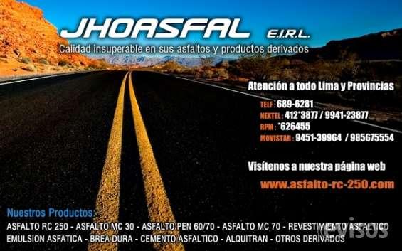 Jhoasfal e.i.r.l/ofrece pinturas de trafico/brea asfaltica y otros