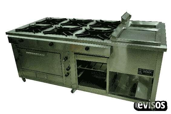 Cocina ind. de 6 hornillas+horno+plancha+freidora+gratinador