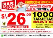 1000 tarjetas mate a s/ .26.00 gran oferton en publimaye