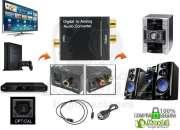 Convertidor De Audio Óptico A Rca Analógico + Cable Óptico