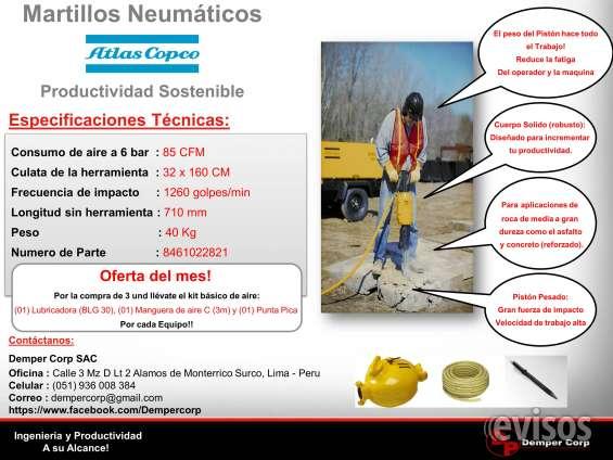 Alquiler venta martillos rompedores y perforadoras neumaticas
