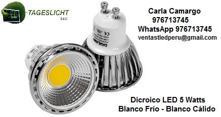 Dicroico led 5 watts blanco frío - blanco cálido alto brillo