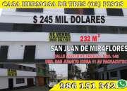 CASA DE TRES PISOS EN SAN JUAN DE MIRAFLORES