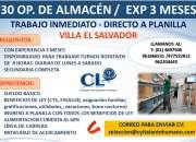 30 Operario de Almacén /Planilla con todos los beneficios de Ley - Lugar de Trabajo VES