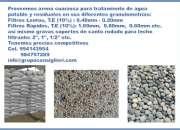 Arena cuarzosa y piedra de canto rodado para filtros de agua