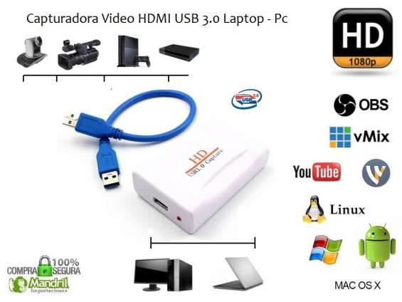 Capturadora video hdmi usb 3.0 fhd 1080p obs vmix wirecast