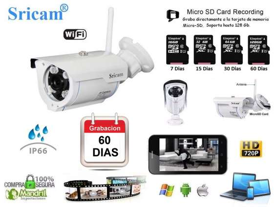 Camara vigilancia ip wifi exterior hd sricam sp007 slot memoria 128gb