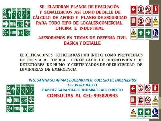 Se elaboran planos de evacuación y señalizacion