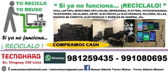 Pcs, laptops, lcds, leds, impresoras, tvs,  celulares, fotocopiadoras, etc.