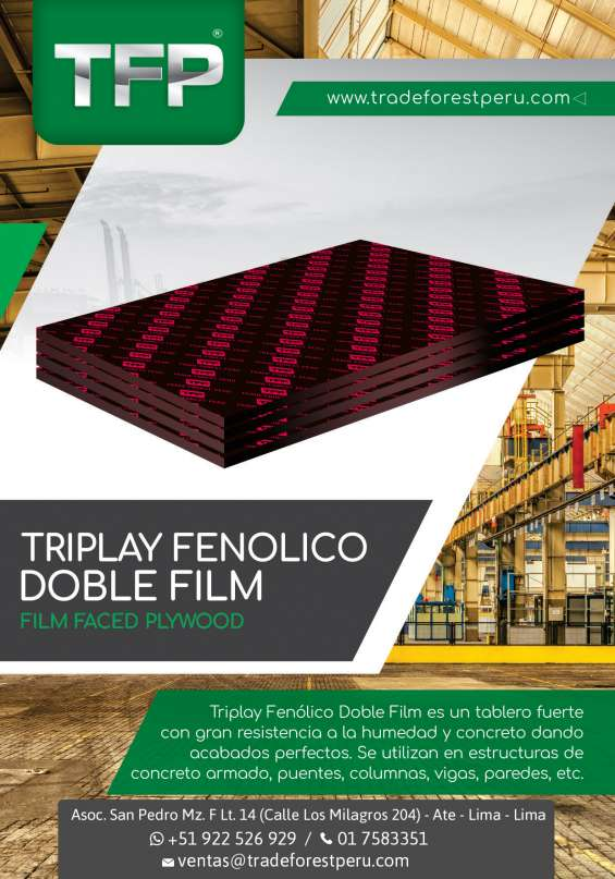 Triplay fenolico doble film 18mm - cel. 922 526 929