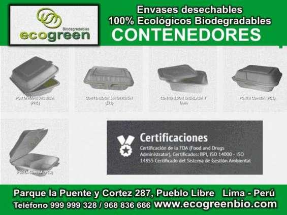 Envases descartables lima perú biodegradables ecológicos desechables ecogreenbio perú