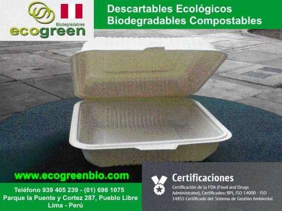 Envases descartables biodegradables lima perú para delivery de alimentos envases lima