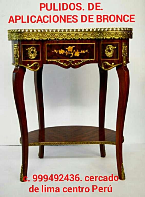 Pulido y restauraciónes de muebles clasicos con bronces lima perú