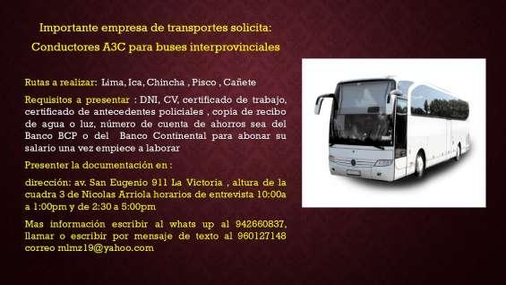 Conductor a3c ruta interprovincial