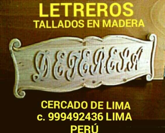 Letreros en madera tallados publicitarios fabricación y diseño lima perú