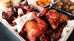 Porcion mixta pollo y chancho con guarnicion