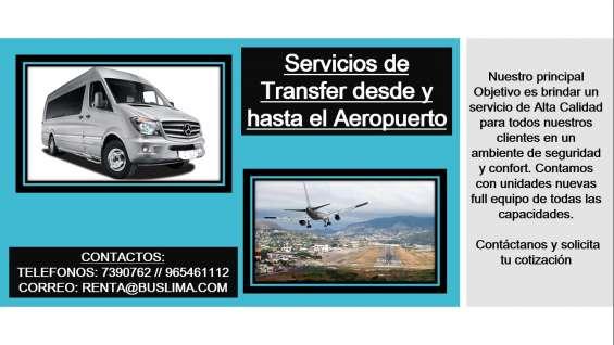 Servicios de transfer desde y hasta el aeropuerto