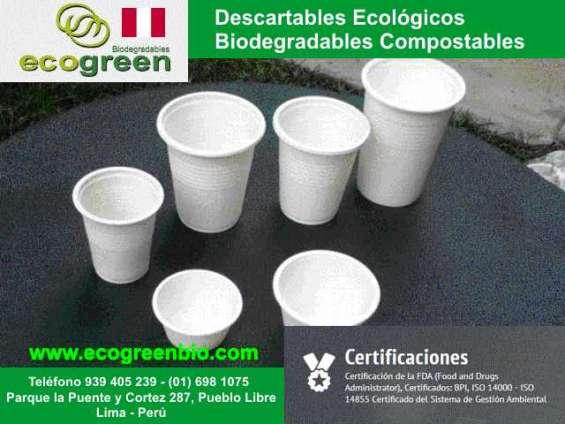 Vasos biodegradables lima peru ecogreenbio peru envases descartables ecologicos