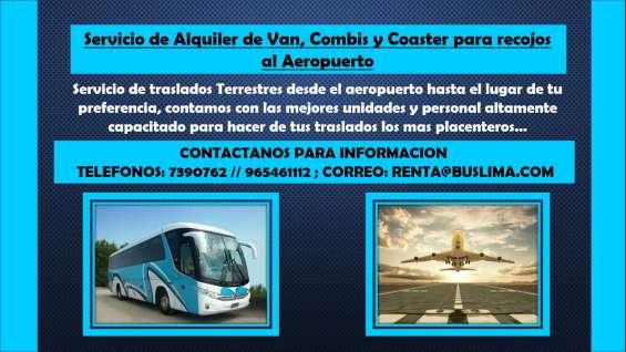 Servicio de alquiler de van, combis y coaster para recojos