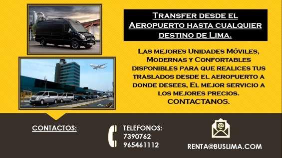 Transfer desde el aeropuerto hasta cualquier destino de lima.