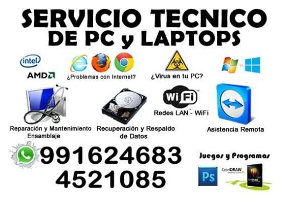 Servicio técnico de pc y laptop 991624683