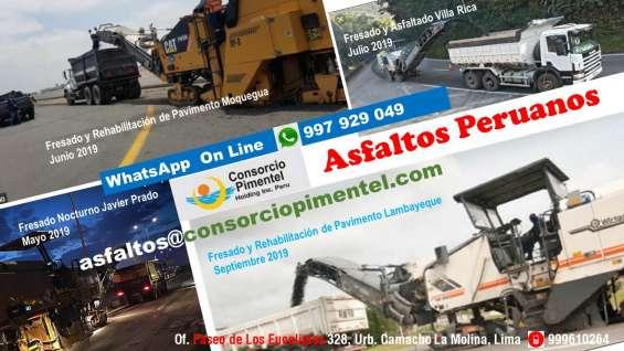Fresadora de asfalto y colocación de carpeta asfáltica perú 2020
