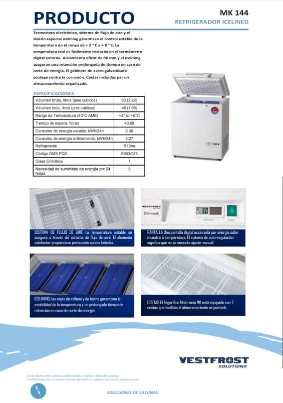Refrigerador ice lined vestfrost- mk144, mk204, mk304, mf214