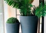 Macetas cuadradas negras, macetas cuadradas con plantas, macetas,