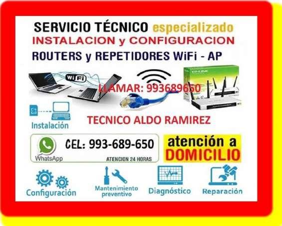 Tecnico de repetidores wifi cableados d ered a domicilio