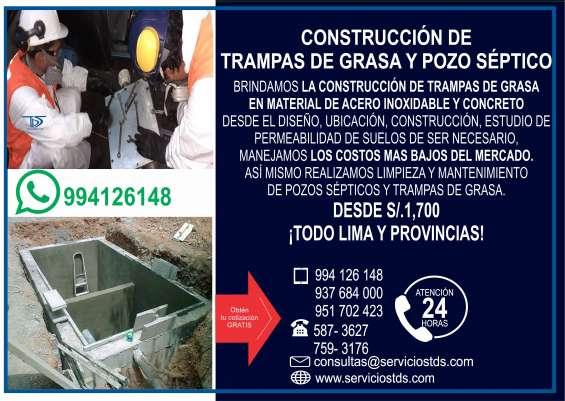 Construcción de trampa de grasa de concreto