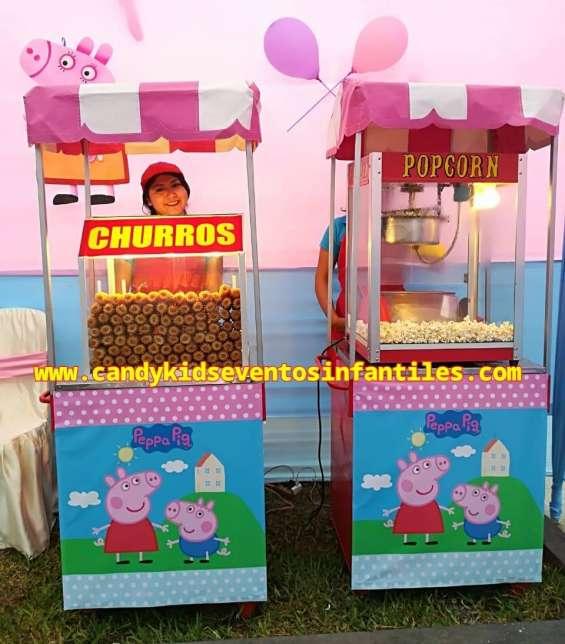 Carritos de pop corn y algodones dulces para fiestas infantiles