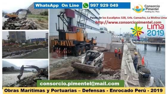 Pilotes hincados, tablestacas de concreto armado, obras portuarias peru 2020